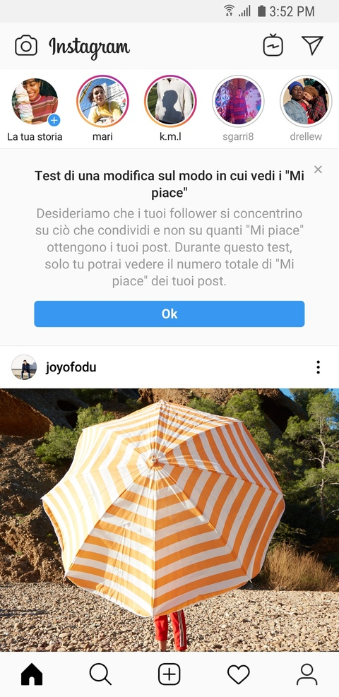messaggio di avviso di instagram senza likes