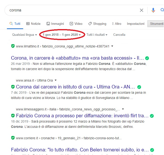 """Seo e coronavirus - serp per la keyword """"corona"""" prima del Covid-19"""