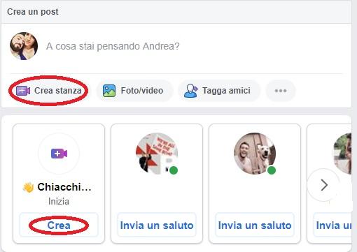 Dove devo fare click per creare una Facebook Room?