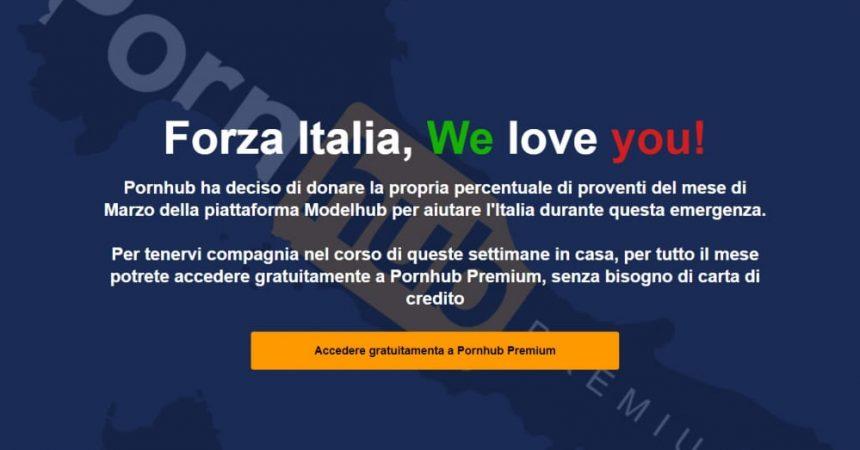 Pornhub Premium gratis in Italia per un mese a sostegno dell'emergenza coronavirus